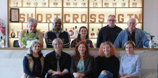 International journalists at Rademon Estate Distillery in Crossgar, with tour guide Maeve Davison (front, right).