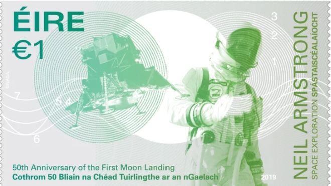 Irish moon landing stamp spells 'moon' wrong