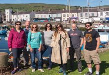 International travel journalists at the harbour in Carnlough – aka Braavos in Game of Thrones.