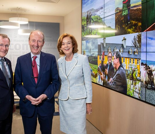 Niall Gibbons, CEO of Tourism Ireland; Tourism Minister Shane Ross; and Joan O'Shaughnessy, Chairman of Tourism Ireland, at the mid-year review of overseas tourism.