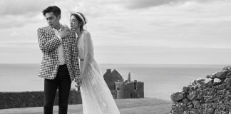A pre-wedding photo of Chinese celebrities Zhang Ruoyun and Tang Yixin, taken this week at Dunluce Castle.