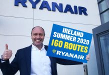 The new routes bring Ryanair's total routes from Ireland to 160.