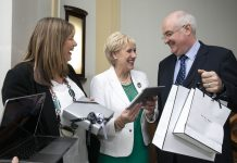 Pictured, L-R: Mary Cloak, Enterprise Ireland and Minister Heather Humphreys TD with Mark Appleby from Appleby Jewellers who were one of 29 successful applicants to the Online Retail Scheme.